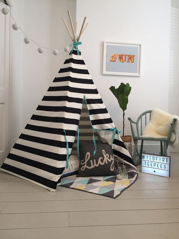 Original Wildfire Teepee Stripe Seafoam Trim open MyBabyEdit