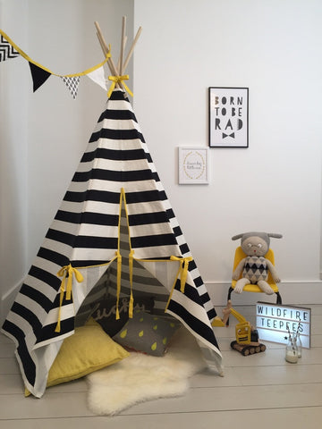 Stripe Yellow Trim Teepee
