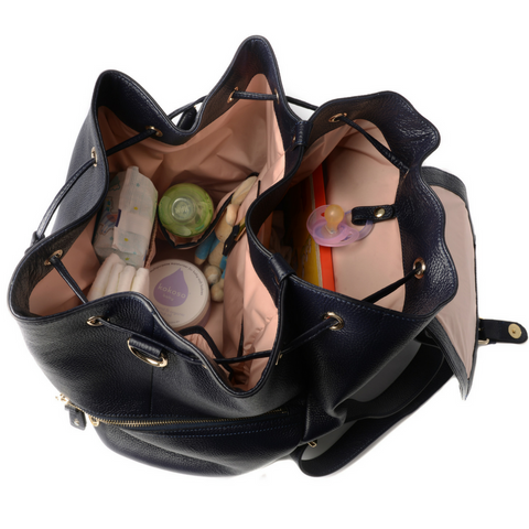 Original Kerikit Real Leather Thor Navy Backpack Inside View My Baby Edit