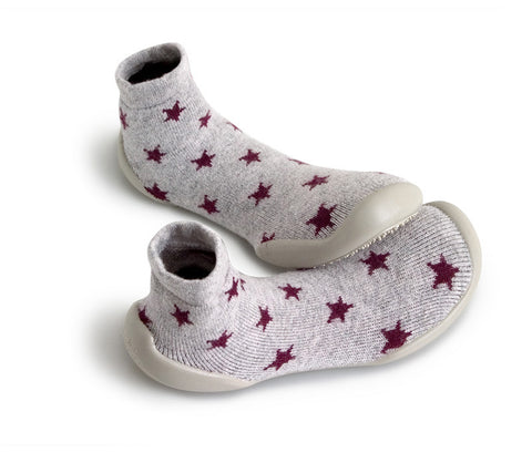 Original Collegien Indoor Slippers Grey Chic Star Close Up My Baby Edit
