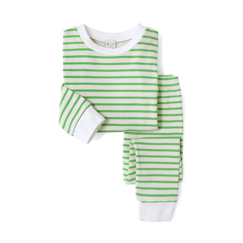 Unisex Green & Oatmeal Breton Stripe Long Sleeve PJ set