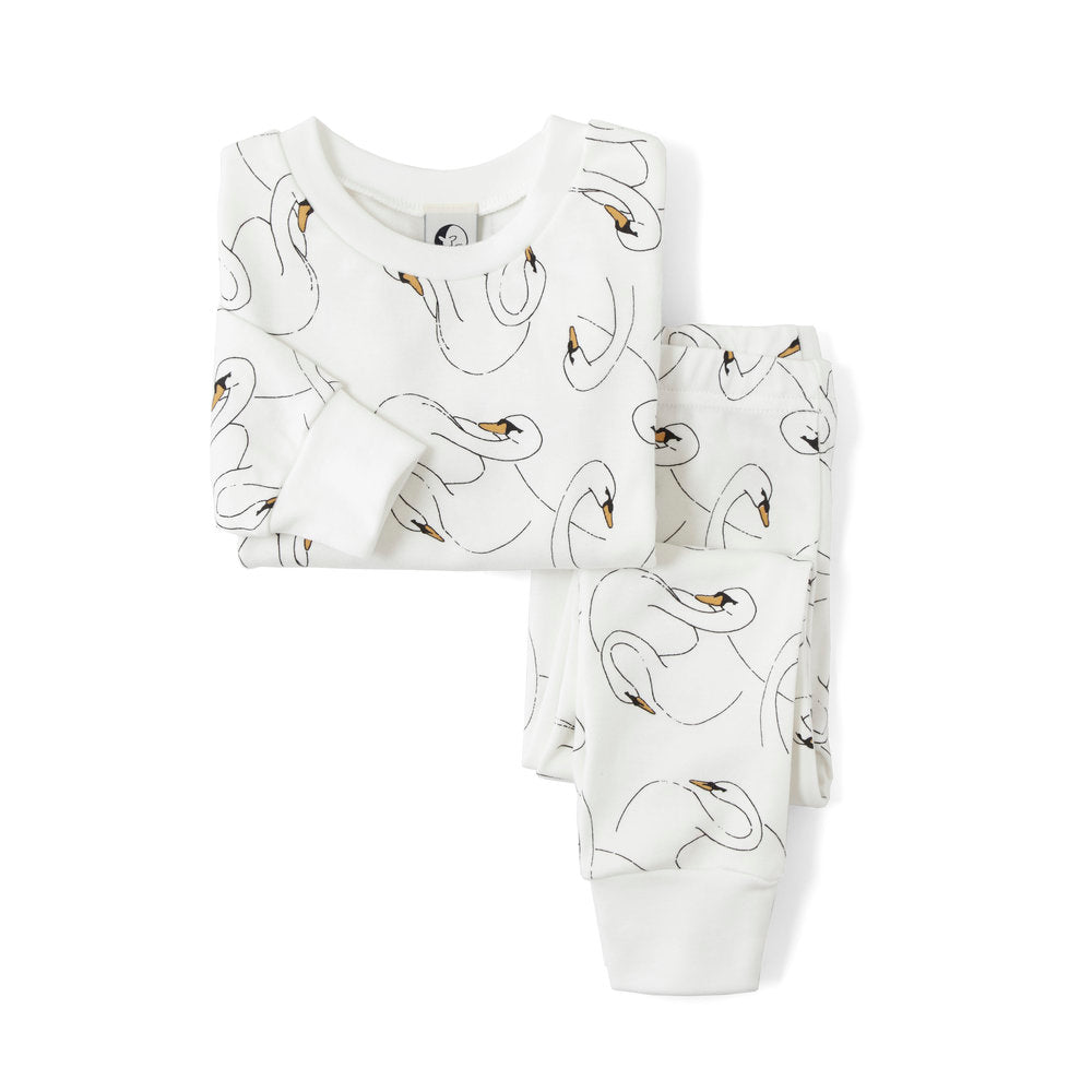 Swansy White Classic Long Sleeve PJ Set