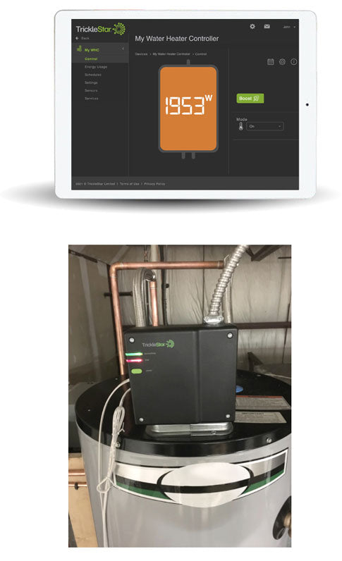 A picture of a TrickleStar Portal and Water Heater Controller being installed