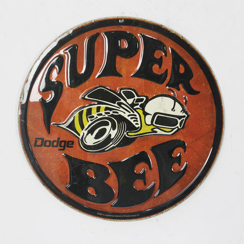 Dodge Charger Super Bee Rustic Embossed Man Cave Wall Art Sign
