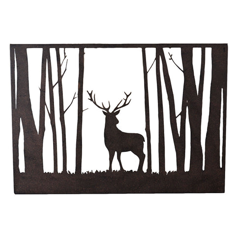 Stag In The Forest Rustic Metal Silhouette Wall Art Hanging