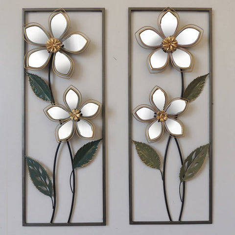 Mirrored Flowers In Frame Metal Wall Art Hangings (Set of Two)