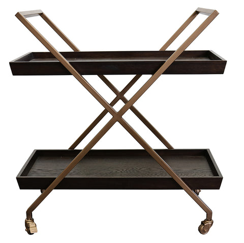 Monterey Oak & Iron Geometric Bar Cart Side Table With Wheels