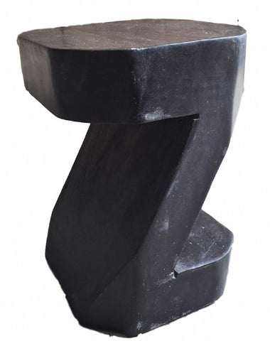 Abstract Z Shape Tamarind Wood Side Table / Block Chair - Artistic
