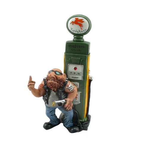 Cheeky Biker Petrol Pump Novelty Money Box Ornament