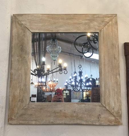 Square White Washed Authentic Wood Mirror - Rustic Character Piece