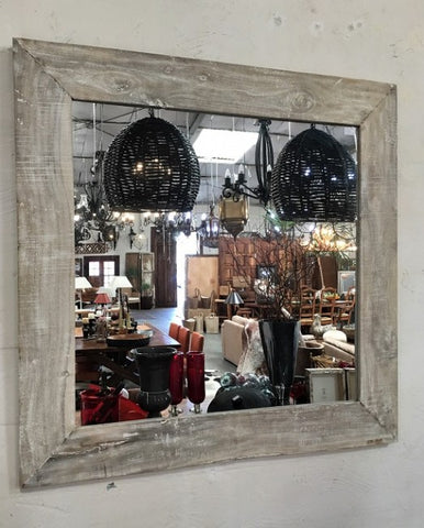 1.2m White Washed Authentic Wood Mirror - Rustic Character Piece