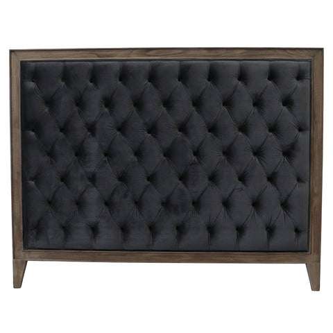 Luxurious Kingston Bedhead Headboard Beech Wood & Charcoal Velvet