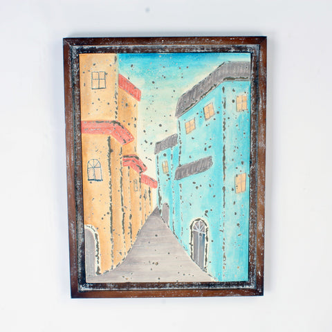 Blue Street Scene Metal With Shabby Chic Wooden Frame Wall Art Hanging