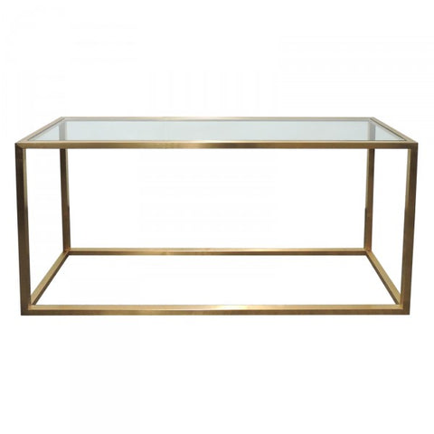 Bronze Steel & Glass Bogart Console Table - Modern Geometric Chic