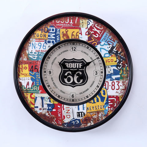 Route 66 License Plates Metal Wall Clock Rustic Chic - Perfect Gift! - Home of Temptations Interior Design Furniture Decor & Gifts http://www.hotdesign.co.nz