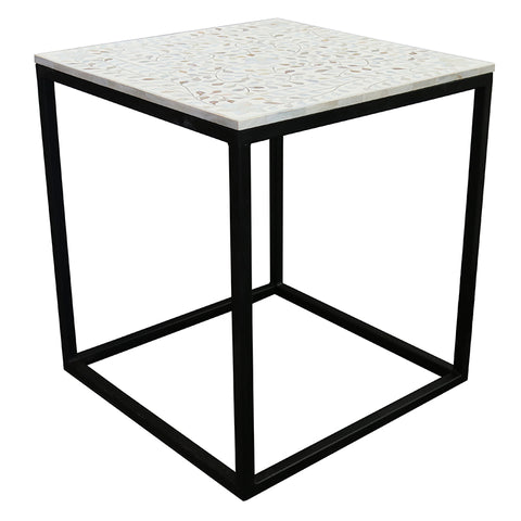 Ciara Iron & Mother of Pearl Modern Side Table