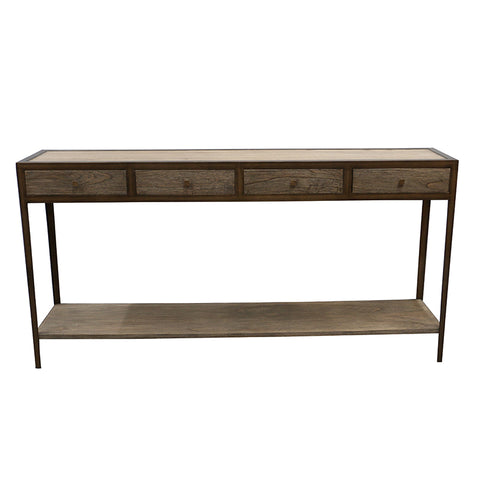 Bronze Frame Tennessee Wood & Iron Entertainment Unit / Console Table Shabby Chic