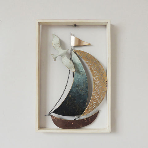 3D Sailboat & Seagull In A Wood Frame Metal Wall Art Hanging