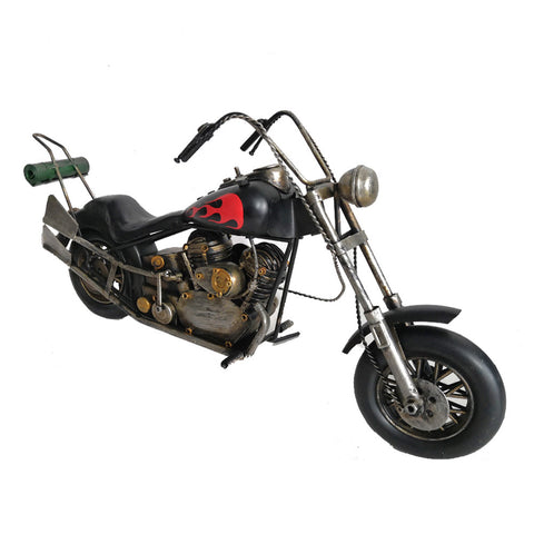 Black Flames Vintage Styled Chopper Motorbike Model Replica Ornament