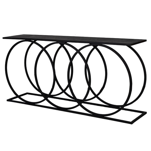 Circle Iron & Mango Wood Abstract Geometric Console Table