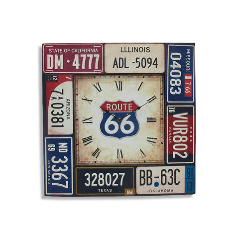 Square Route 66 License Plates Metal Wall Clock Rustic Chic - Perfect Gift!