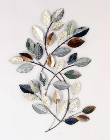Feature Art Textured Leaves Metal Wall Hanging