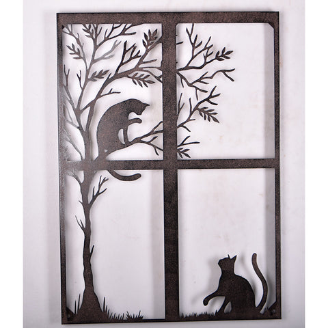 Cats Playing Rustic Metal Feature Art Window Silhouette Wall Hanging