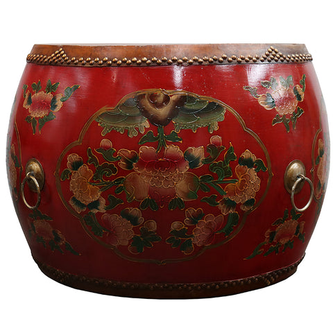 Oriental Cloisonné Antique Drum Style Side Table / Coffee Table