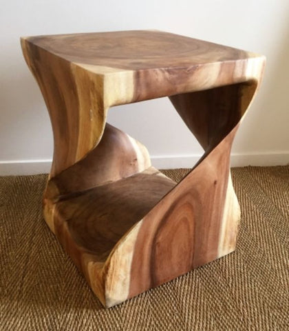 Abstract Tamarind Wood Side Table - Artistic