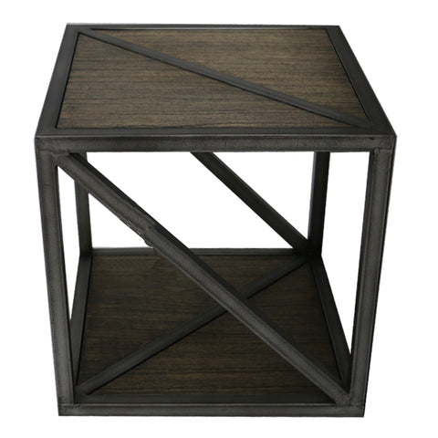 Chic Modern Tennessee Wood & Iron Side Table