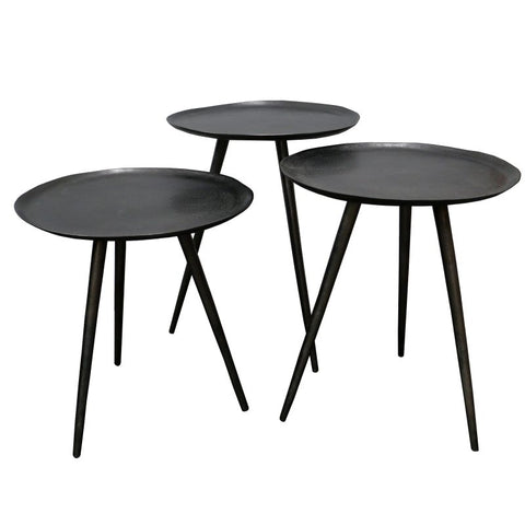 Graphite Brooklyn Retro Geometric Aluminium Metal Side Table Set