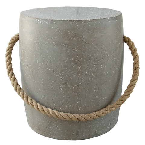 Grey Czech Rope Modern Round Stool / Side Table