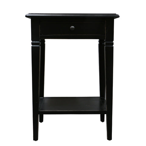 Black Oak Florence Shabby Chic Farmhouse Side Table Bedside Table