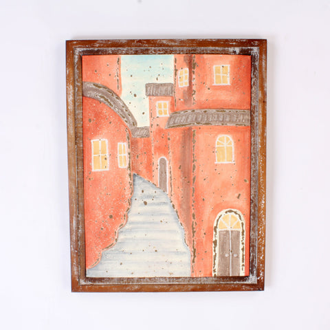 Street Scene Metal With Shabby Chic Wooden Frame Wall Art Hanging