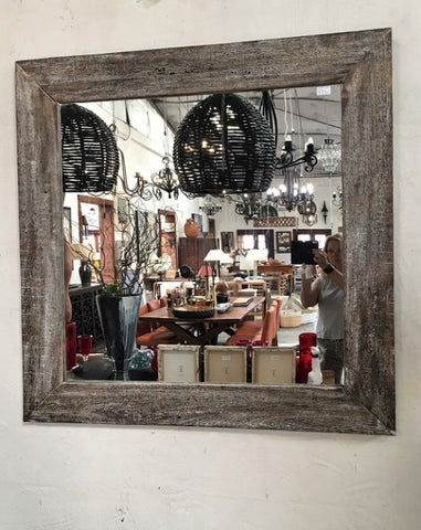 1.2m Black Washed Authentic Wood Mirror - Rustic Character Piece