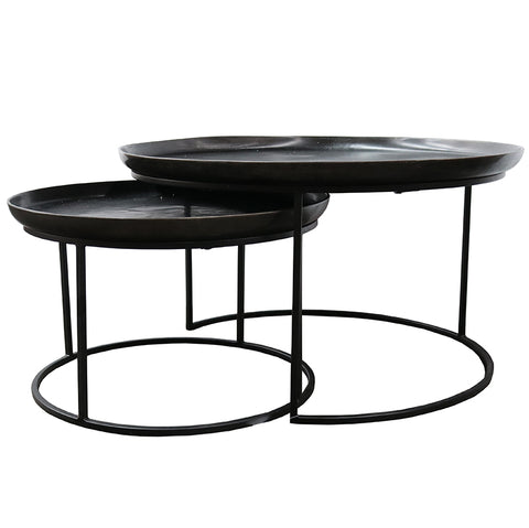 Calypso Black Iron & Aluminium Modern Coffee Table Nesting Set