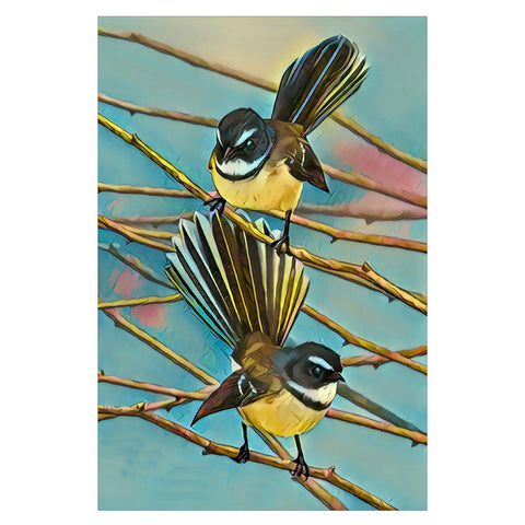 Fantails Beautiful Art Print On Glass Wall Hanging