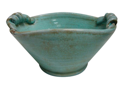 Mykonos Bowl Curled Handles - Handmade (Duck Egg Blue) - Home of Temptations Interior Design Furniture Decor & Gifts http://www.hotdesign.co.nz