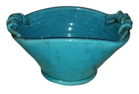 Mykonos Bowl Curled Handles - Handmade (Turquoise)