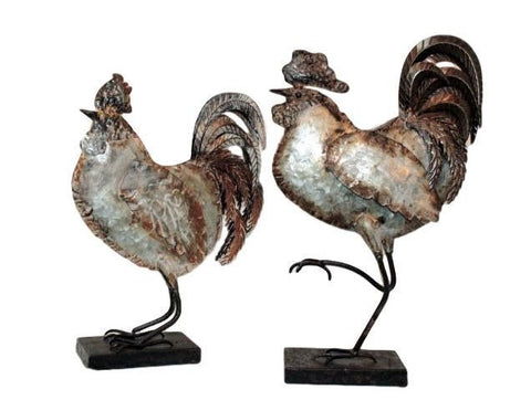 Galvanised Metal Rooster Decorative Ornaments - Set of Two