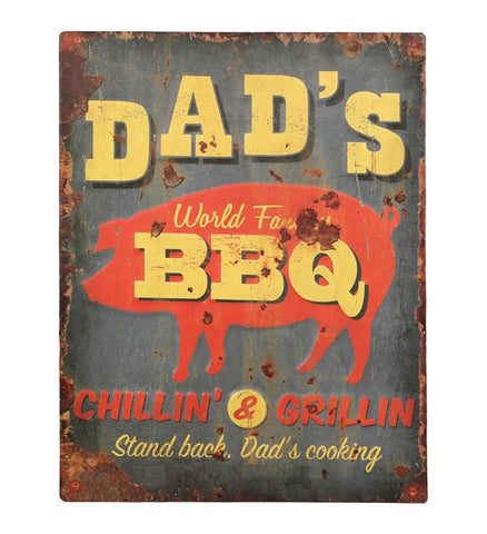 Embossed Metal Vintage Style Dad's BBQ Sign - Home of Temptations Interior Design Furniture Decor & Gifts http://www.hotdesign.co.nz