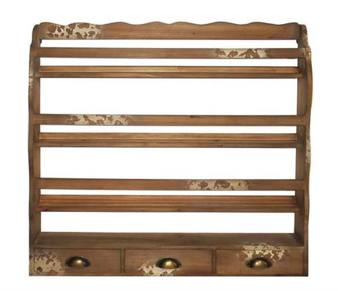 Shabby Chic Wall Rack With Drawers Distressed Wood - Large