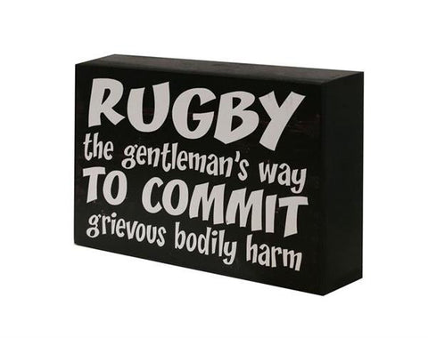 'Rugby The Gentleman's Way' Funny Wall Sign / Shelf Plaque