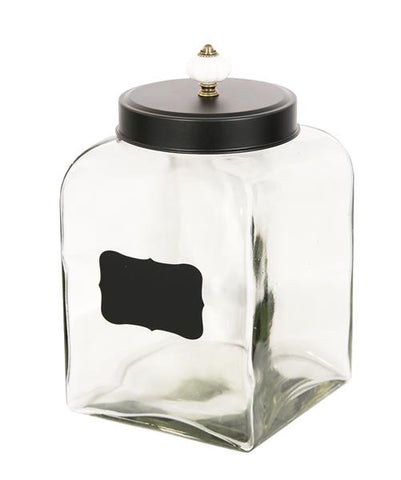 Shabby Chic Large Glass Lolly Jar With Antique Handle & Blackboard