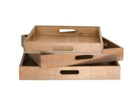 Shabby Chic Decorative or Outdoor Entertaining Wooden Serving Trays (Set of 3)