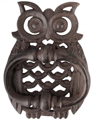 Gorgeous Cast Iron Owl Villa Door Knocker Bell Rustic Door Ornament