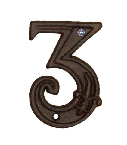 House Number '3' Fleur De Lys Cast Iron Outdoor Decoration