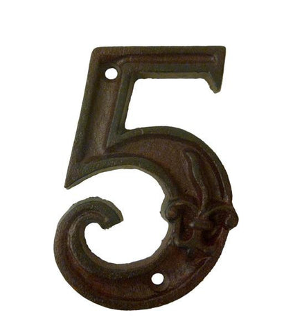House Number '5' Fleur De Lys Cast Iron Outdoor Decoration