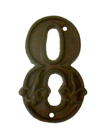 House Number '8' Fleur De Lys Cast Iron Outdoor Decoration