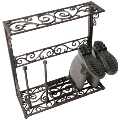 Ornate Cast Iron Scroll Boot Rack - French Country Chic